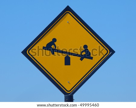 Kids at Play traffic sign - stock photo