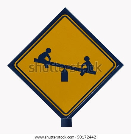 Kids at Play Traffic Sign isolated