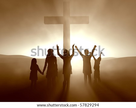 Kids at the Cross of Jesus Christ - stock photo