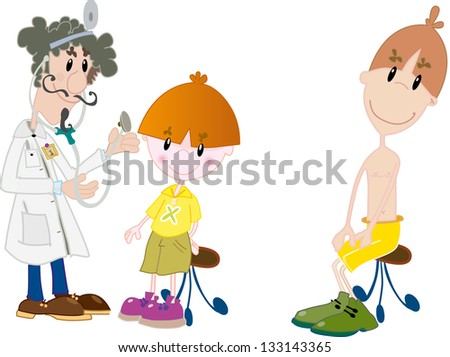 Kids at the doctor - stock photo