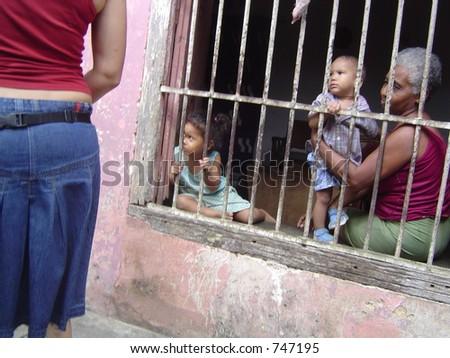 Kids behind bars - stock photo