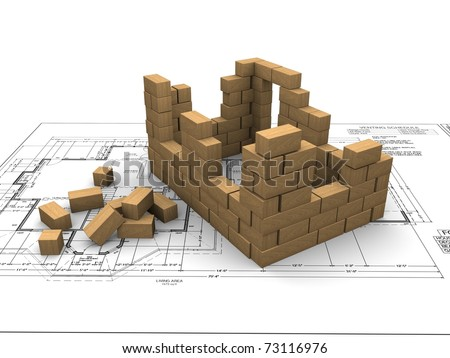 kids block house against a background of engineering drawings - stock photo