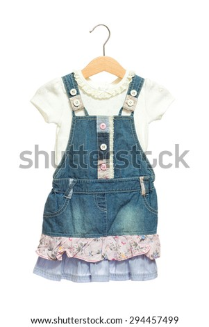 Kids blue bid Jeans dress with white shirt front view in clothes hanger, isolated on white background. - stock photo
