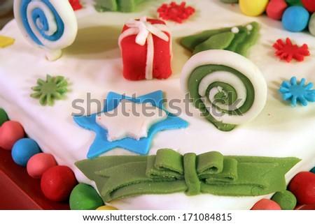 Kids cake. Kids decorated cake. - stock photo