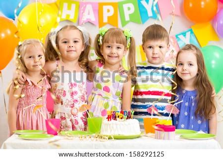 kids celebrating birthday holiday - stock photo
