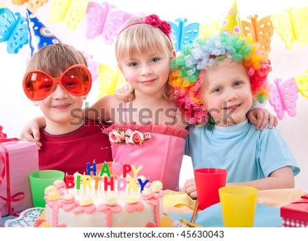 kids celebrating birthday party - stock photo