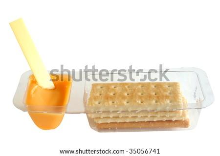 kids cheese and cracker snack - stock photo