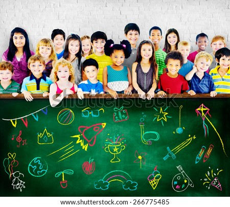 Kids Childhood Leisure Activity Education Concept - stock photo