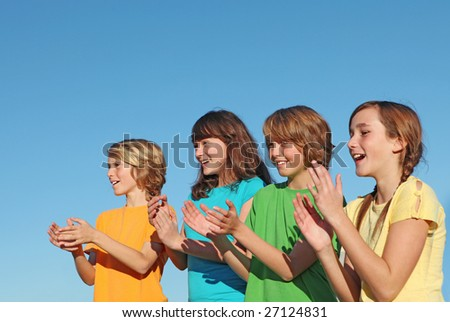kids clapping - stock photo