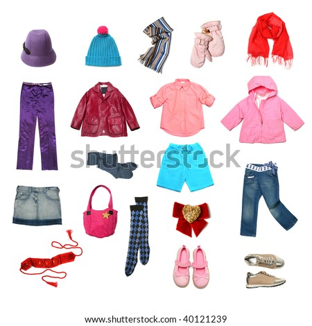 Kids clothes set - stock photo