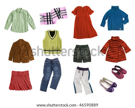 kids clothes set isolated on white - stock photo