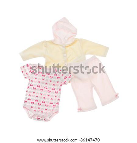 kids clothes set isolated on white. closeup - stock photo