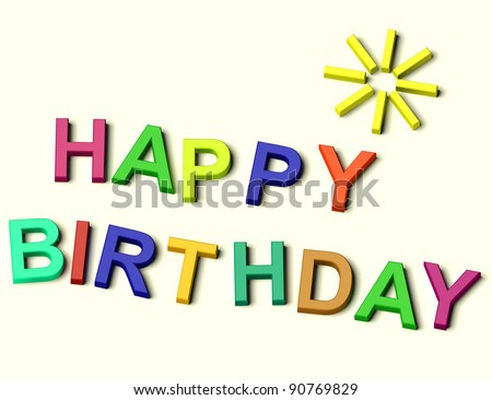 Kids Colored Letters Spelling Happy Birthday As Symbol for Celebration And Best Wishes - stock photo