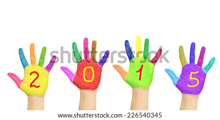 Kids colorful hands forming number 2015. Isolated on white background. The symbol of the new year - stock photo