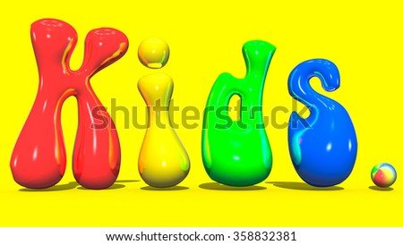 Kids colorful text, surround. The text on a yellow background. Cheerful, bright letters for children. Positive children lyrics - stock photo
