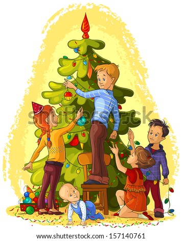 Kids Decorating a Christmas Tree. Christmas and New Year theme. Raster version - stock photo
