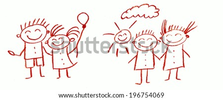 Kids doodle - stock photo