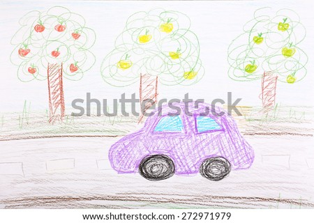 Kids drawing on white sheet of paper background - stock photo
