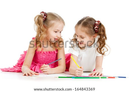 kids drawing with color pencils together over white - stock photo