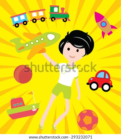 Kids dreams with many toys and transport illustration