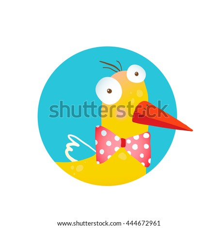Kids Duck Fun Circle Icon. Bird with bow cartoon funny icon drawing. Raster variant. - stock photo