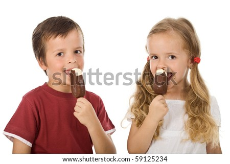 Kids eating icecream - isolated - stock photo