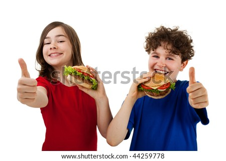 Kids eating sandwiches showing Ok sign isolated on white background