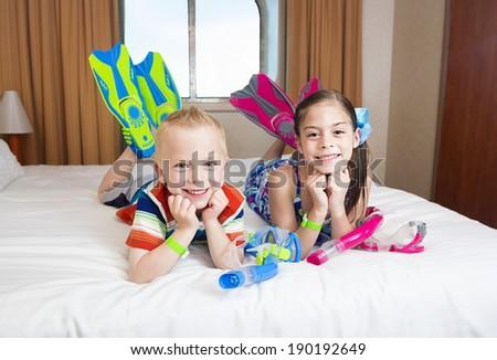 Kids enjoying a Cruise Vacation - stock photo