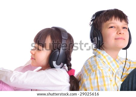 Kids enjoying music - stock photo