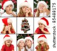 Kids expressions at christmas time - a collage of wonder, laughter mystery and fun - stock photo