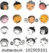 Kids faces set isolated on White background. Face icon, happy people cartoon sketch. illustration - stock photo