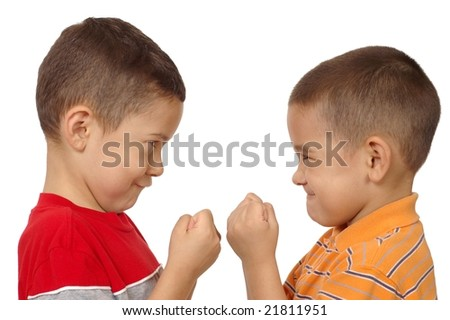 kids fighting, 5 and 6 years old - stock photo
