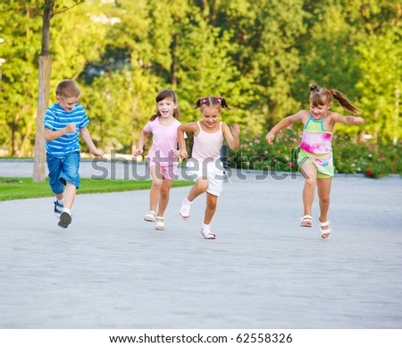 Kids find joy in competition - stock photo