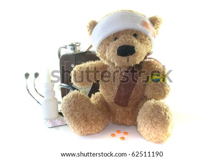 Kids first aid kit with Teddy, Bags, Stethoscope and medicines - stock photo