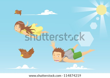 kids flying with birds - stock photo