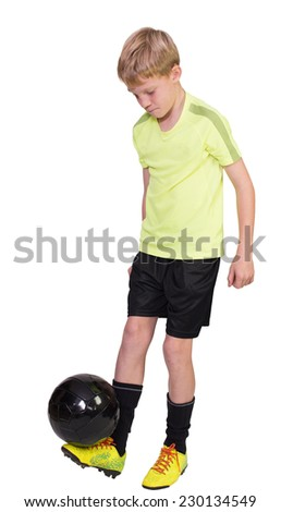 Kids Football cutout - stock photo