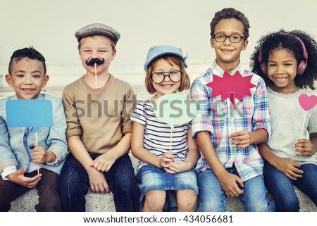 Kids Friends Playing Cheerful Outdoors Concept - stock photo