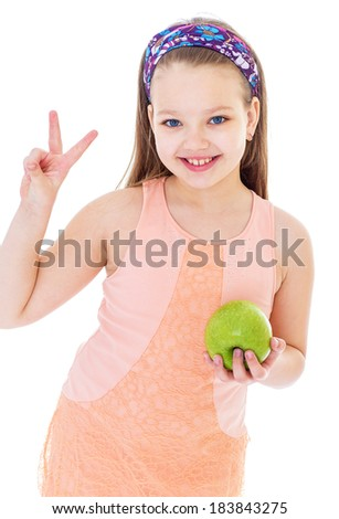 Kids,girl,child and apple-Charming little girl with green apple. Isolated on white background. - stock photo