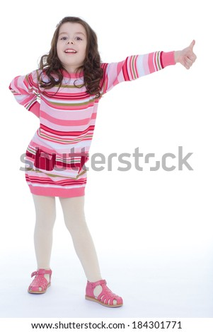 Kids,girl,kid,child- Charming schoolgirl posing in front of camera. Isolated on white background. - stock photo