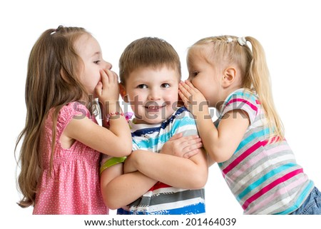 kids girls sharing a secret with child boy isolated - stock photo