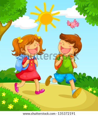 kids gong to school (vector version available in my gallery) - stock photo