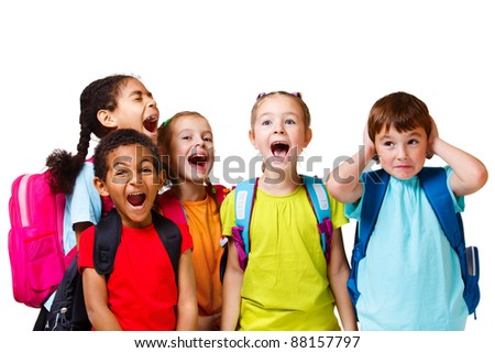 Kids group in colorful t-shirts shouting, isolated