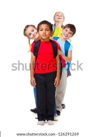 Kids group standing in a row - stock photo