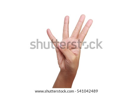 kids hand with four finger up