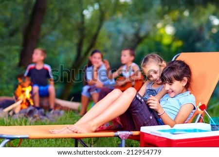 kids having fun in summer camp - stock photo