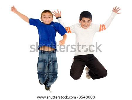 kids having fun jumping in the air - isolated over a white background - stock photo