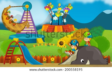 Kids having fun on the playground - illustration for the children