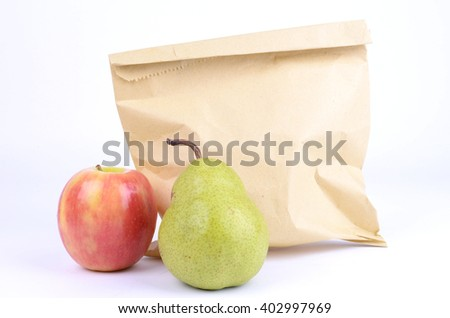 Kids Healthy Lunch Inside a Brown Paper Bag  - stock photo