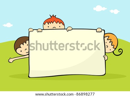 Kids hiding behind a banner. For vector version see image no. 86788549