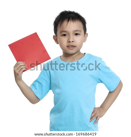 kids holding a chinese red Auspicious Symbol-on white background - stock photo